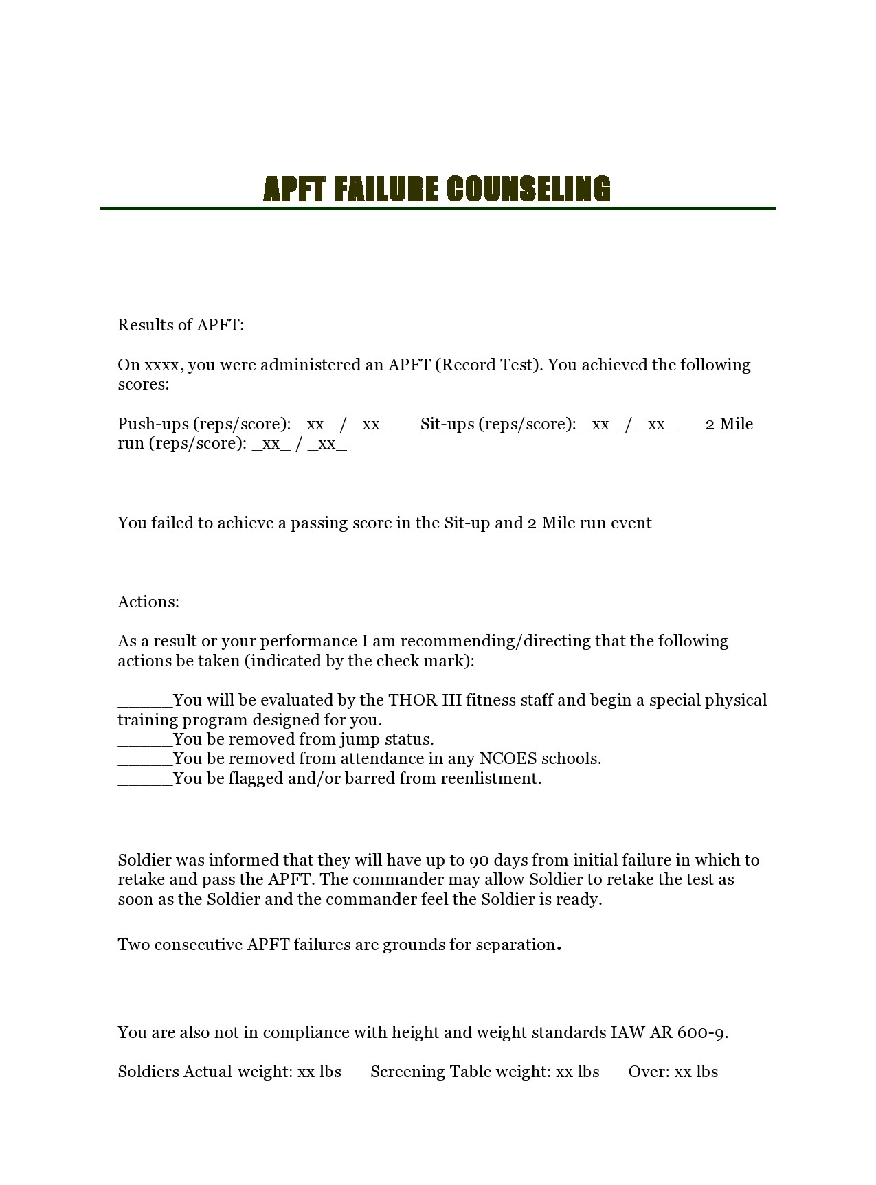 Free army counseling form 09