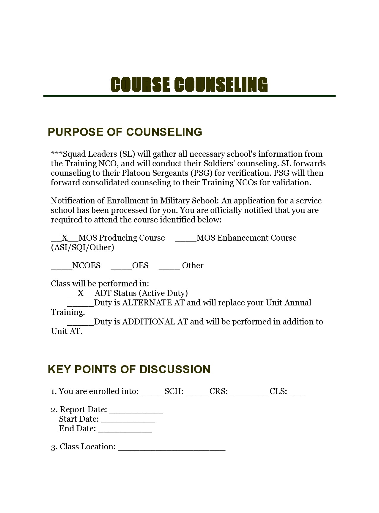 Free army counseling form 10