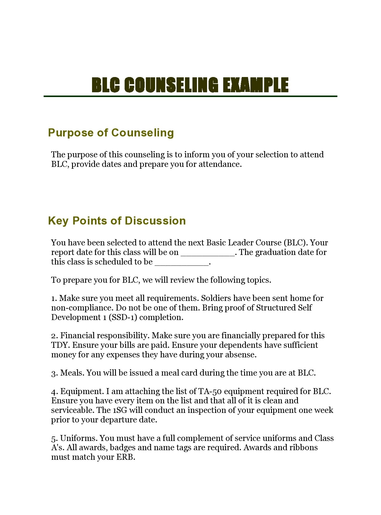 Free army counseling form 11