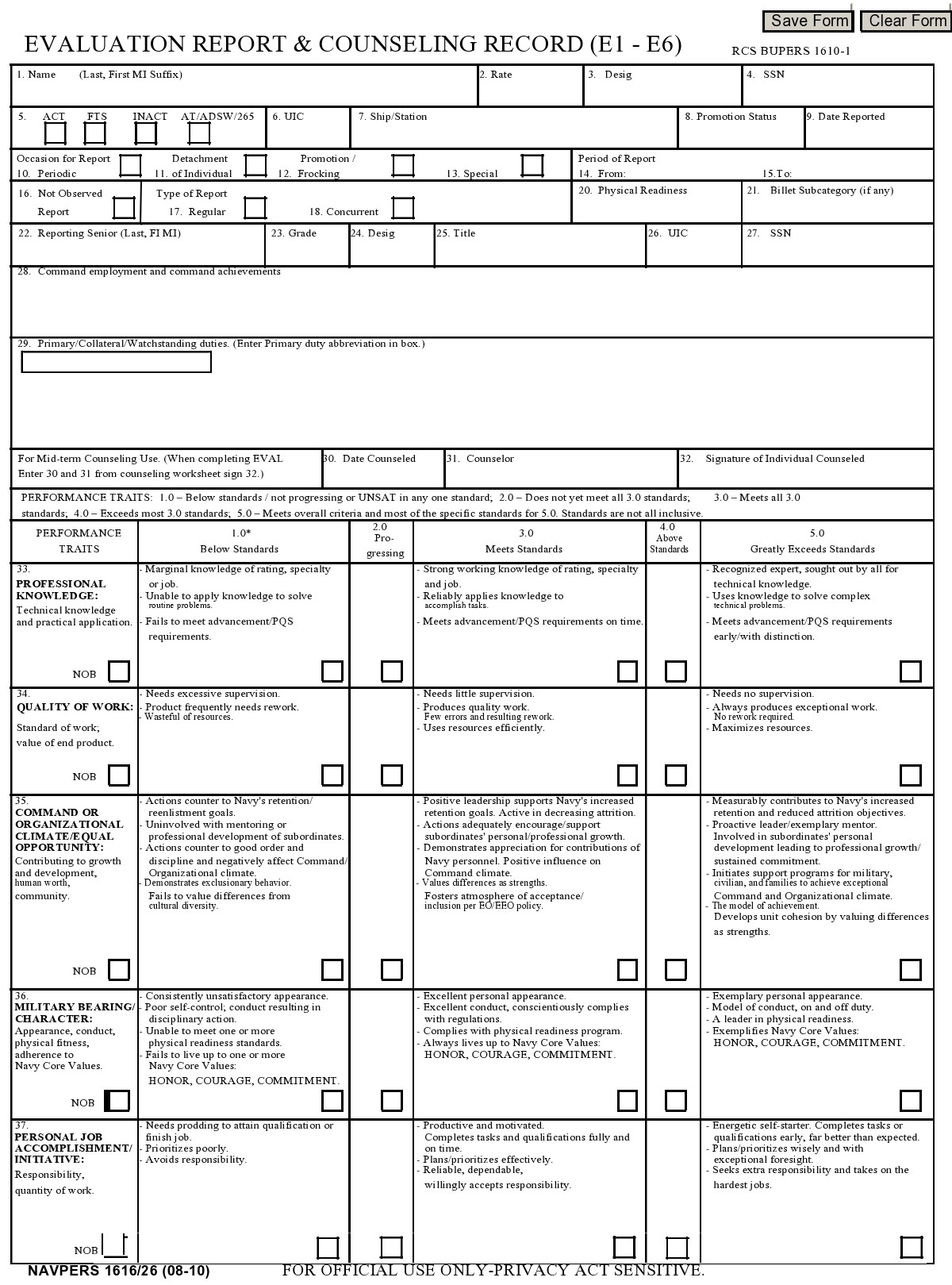 Free army counseling form 15