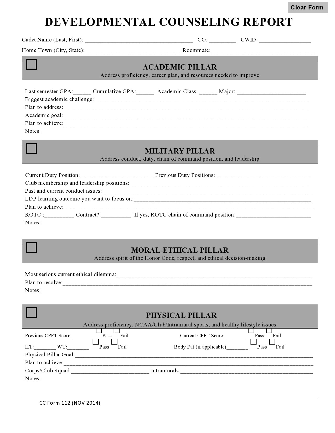 Free army counseling form 23