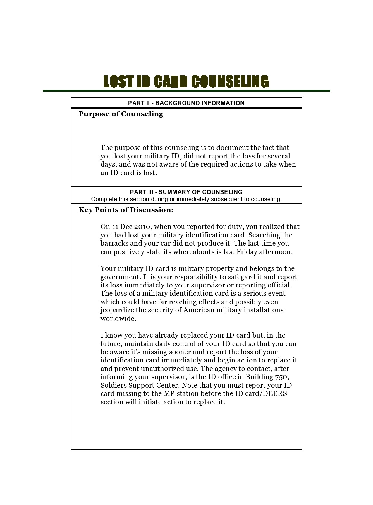 Free army counseling form 28