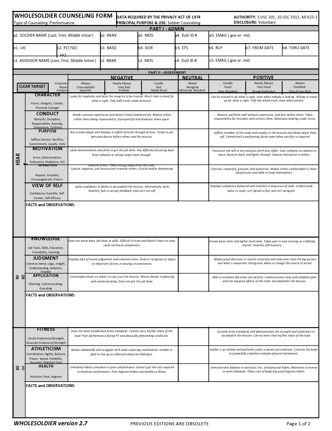 Free army counseling form 31