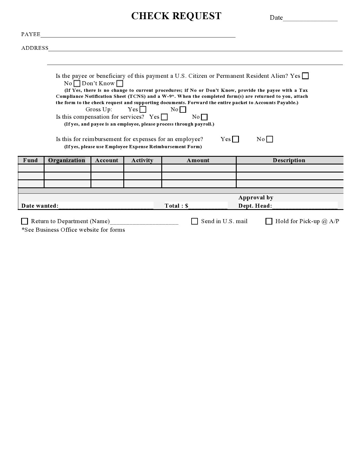 Free check request form 07