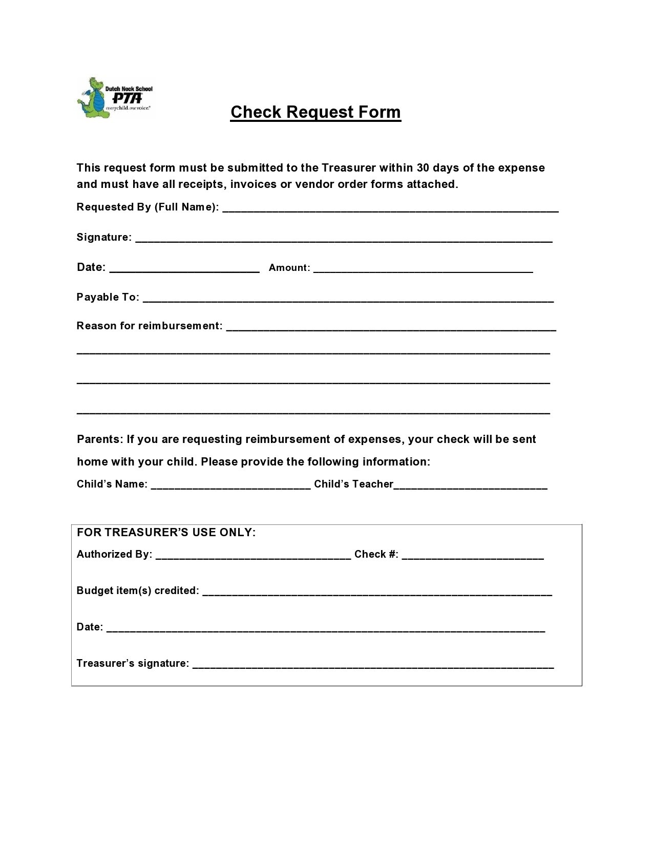 Free check request form 11