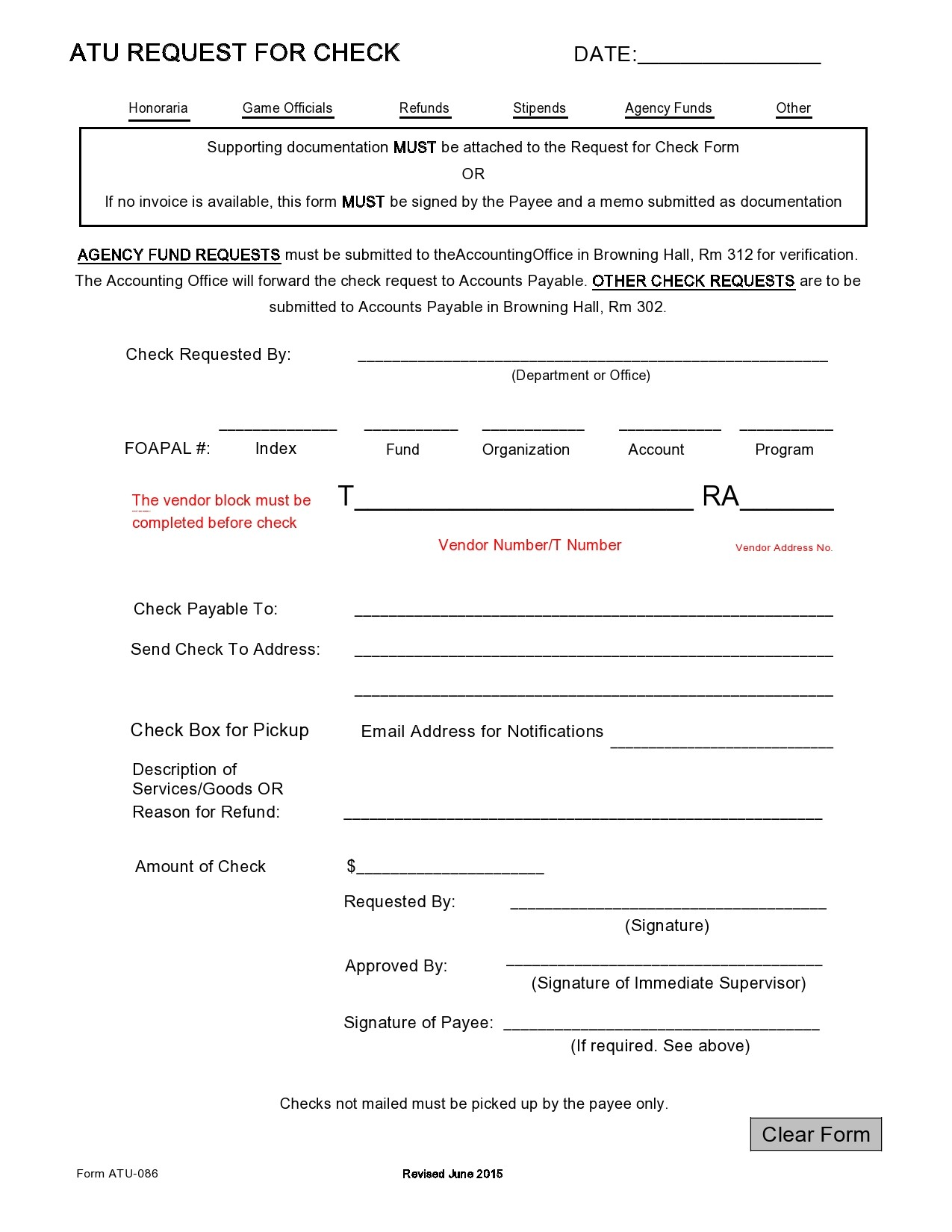 Free check request form 13