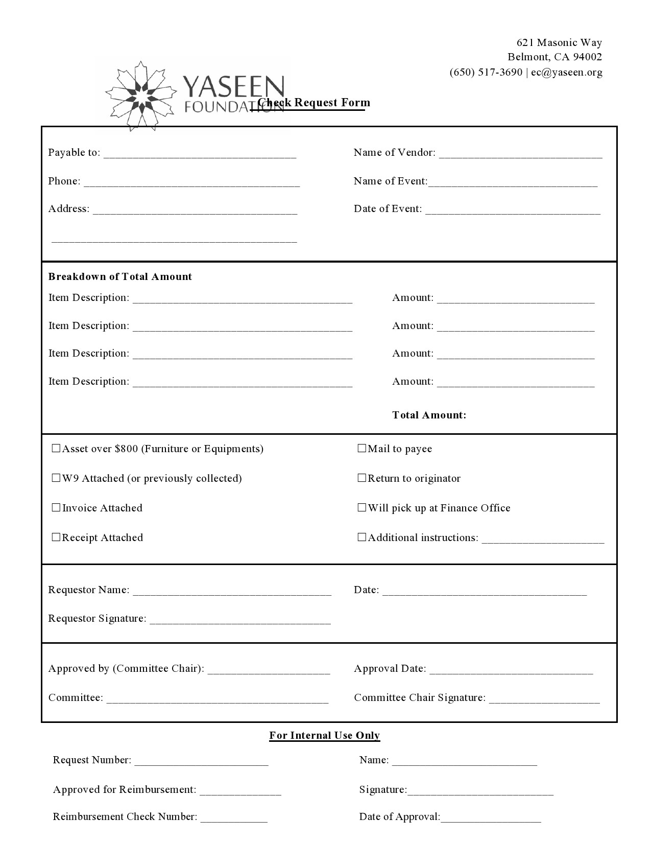Free check request form 14