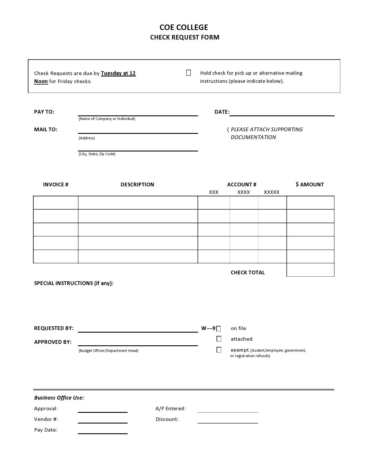 Free check request form 16