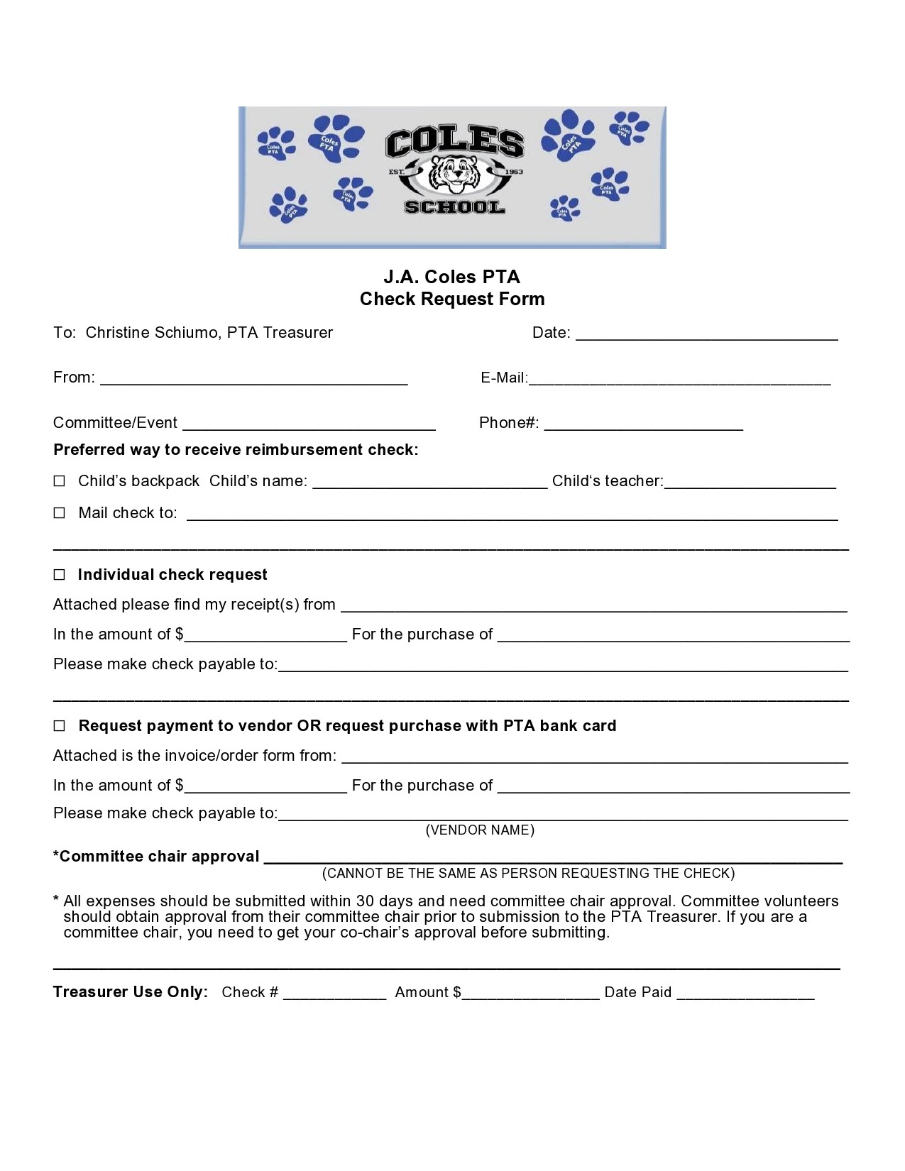 Free check request form 18
