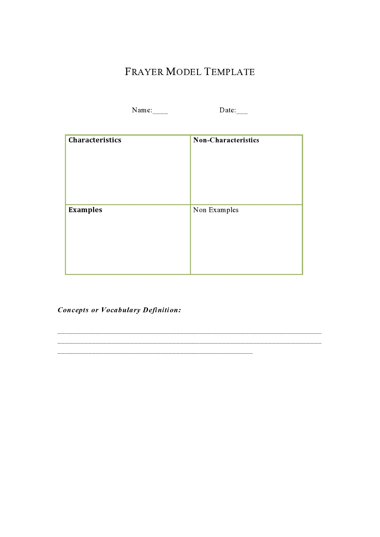 Free frayer model template 12