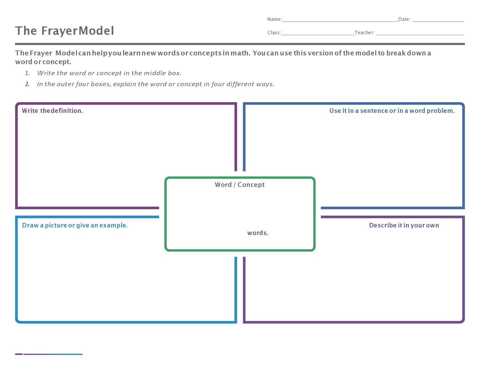 Free frayer model template 17