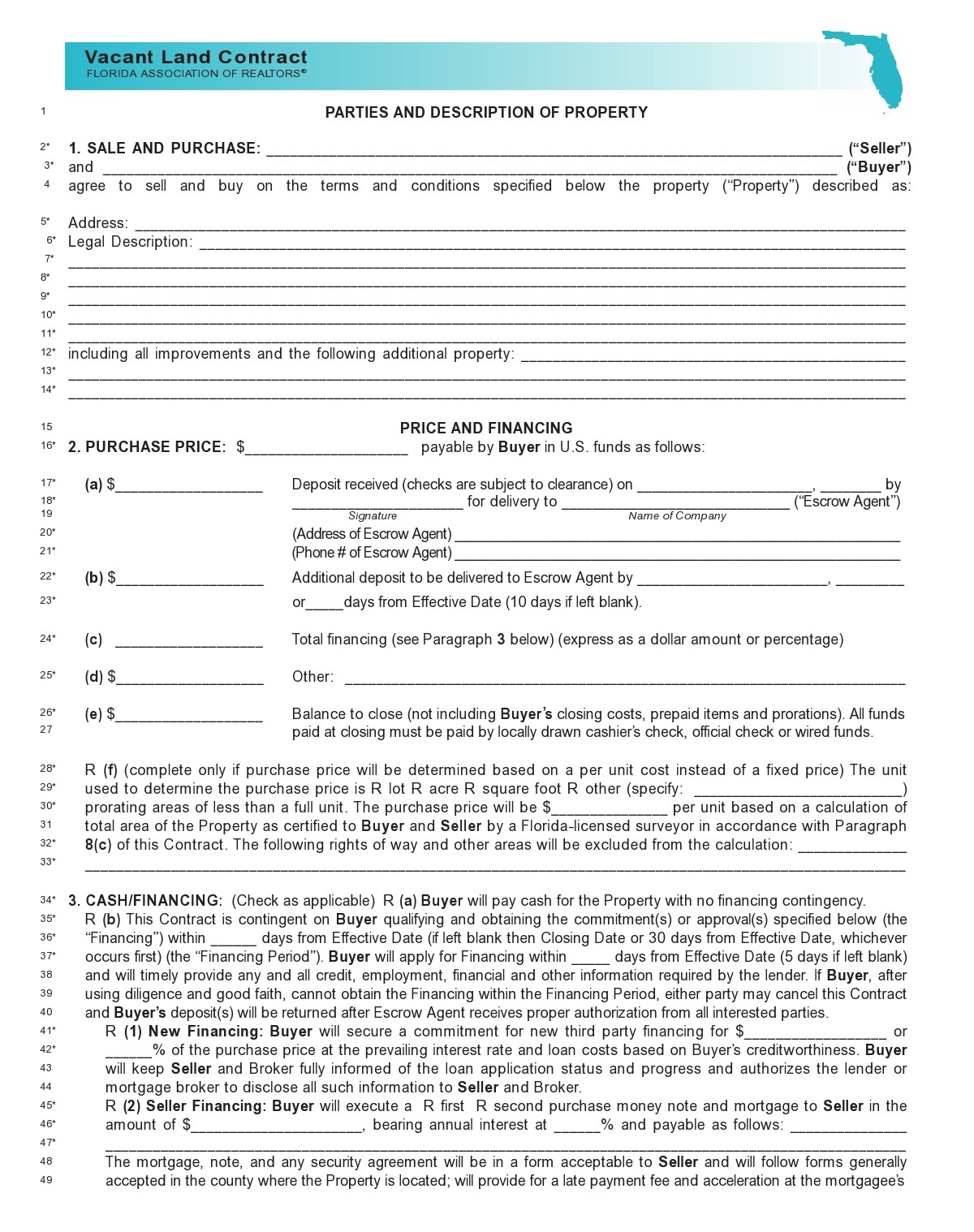Free land contract form 05