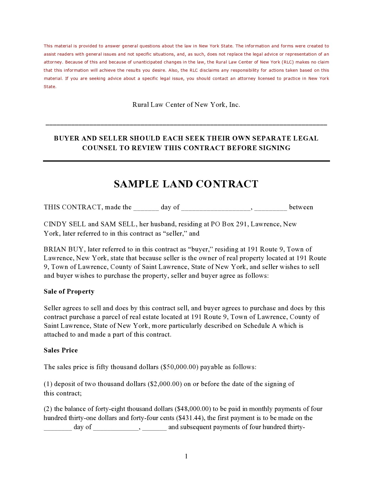 Free land contract form 07