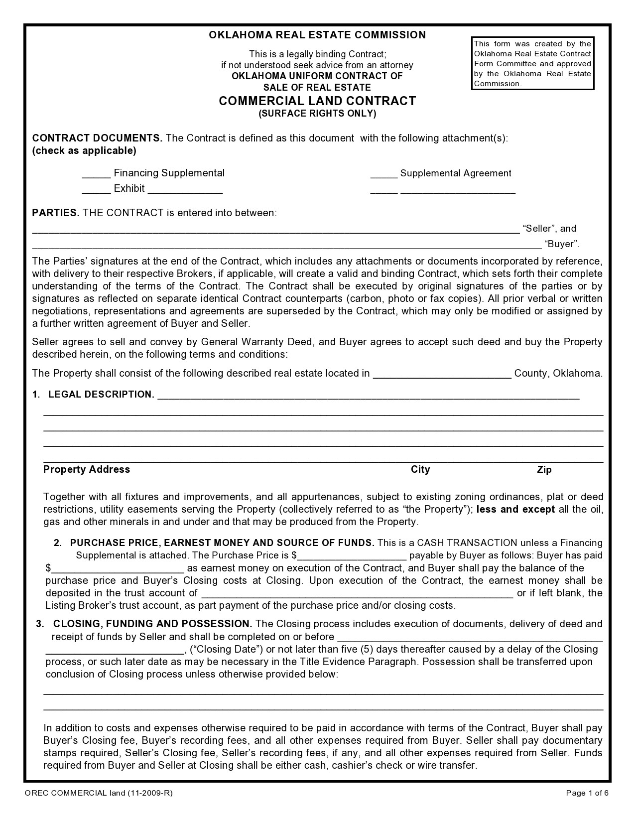 Free land contract form 09