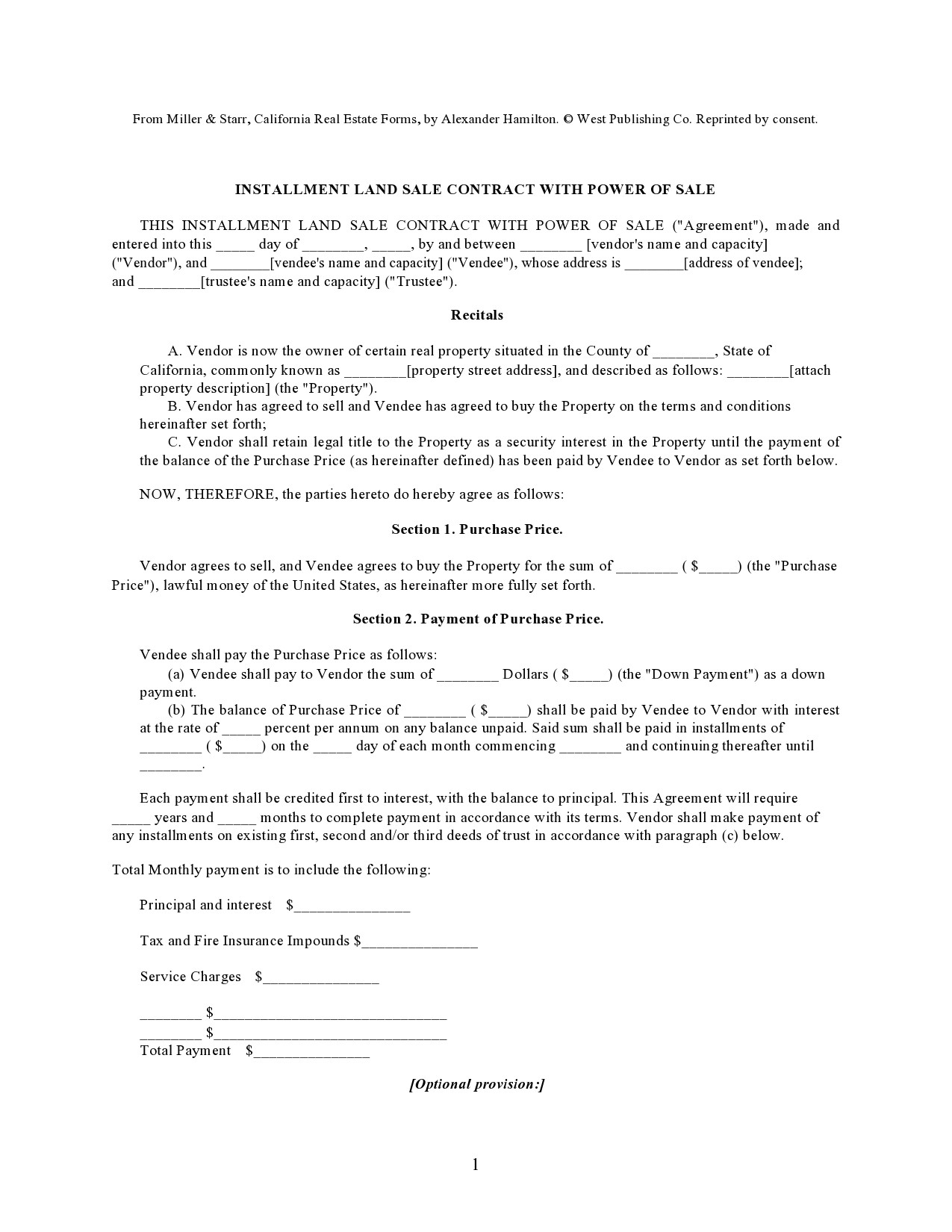 Free land contract form 10