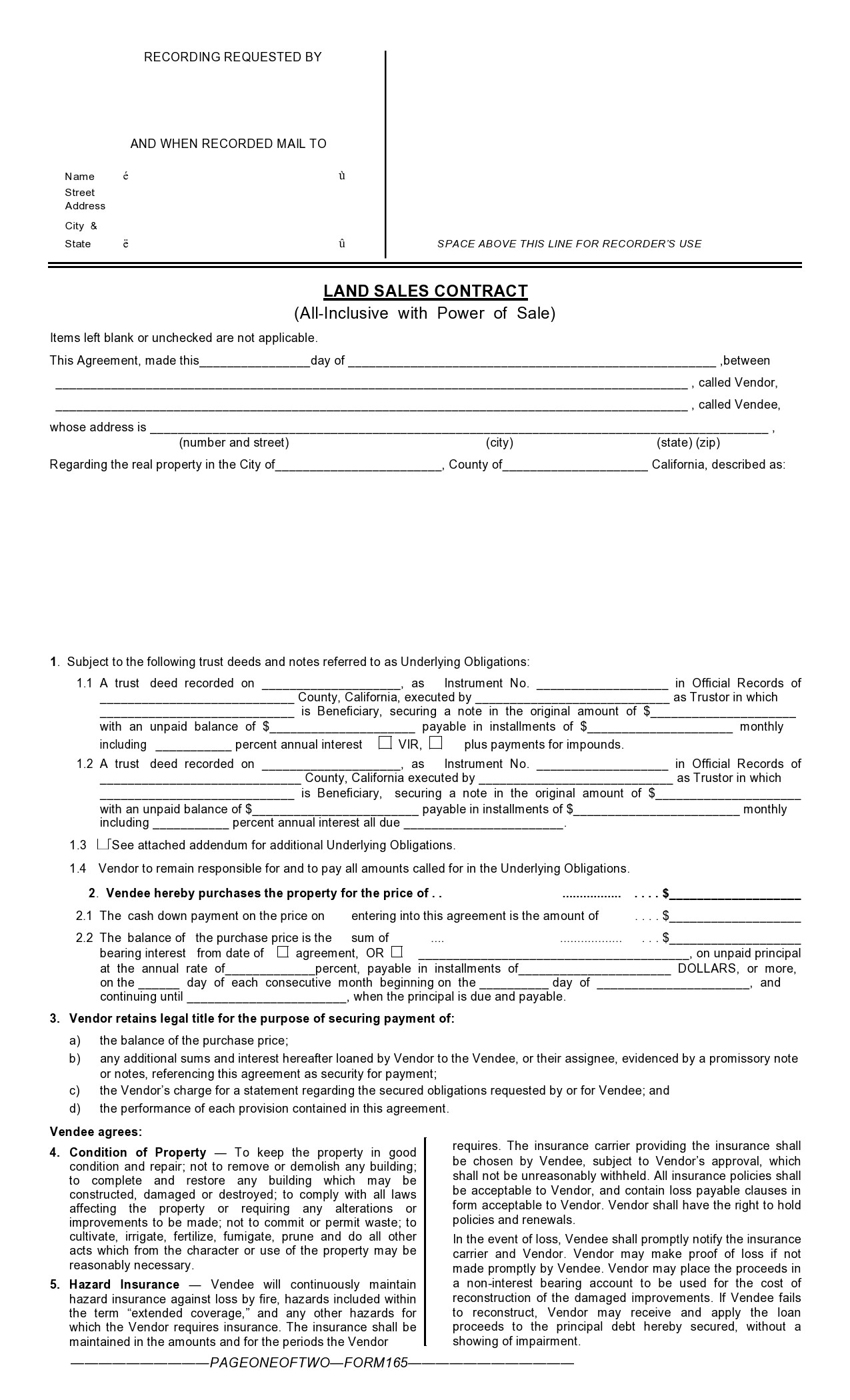Free land contract form 12