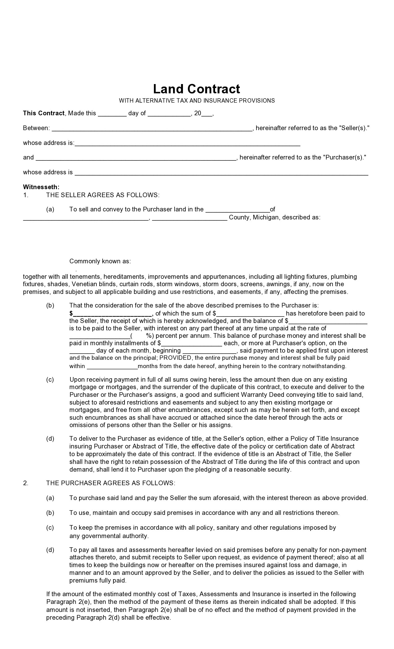 Free land contract form 13
