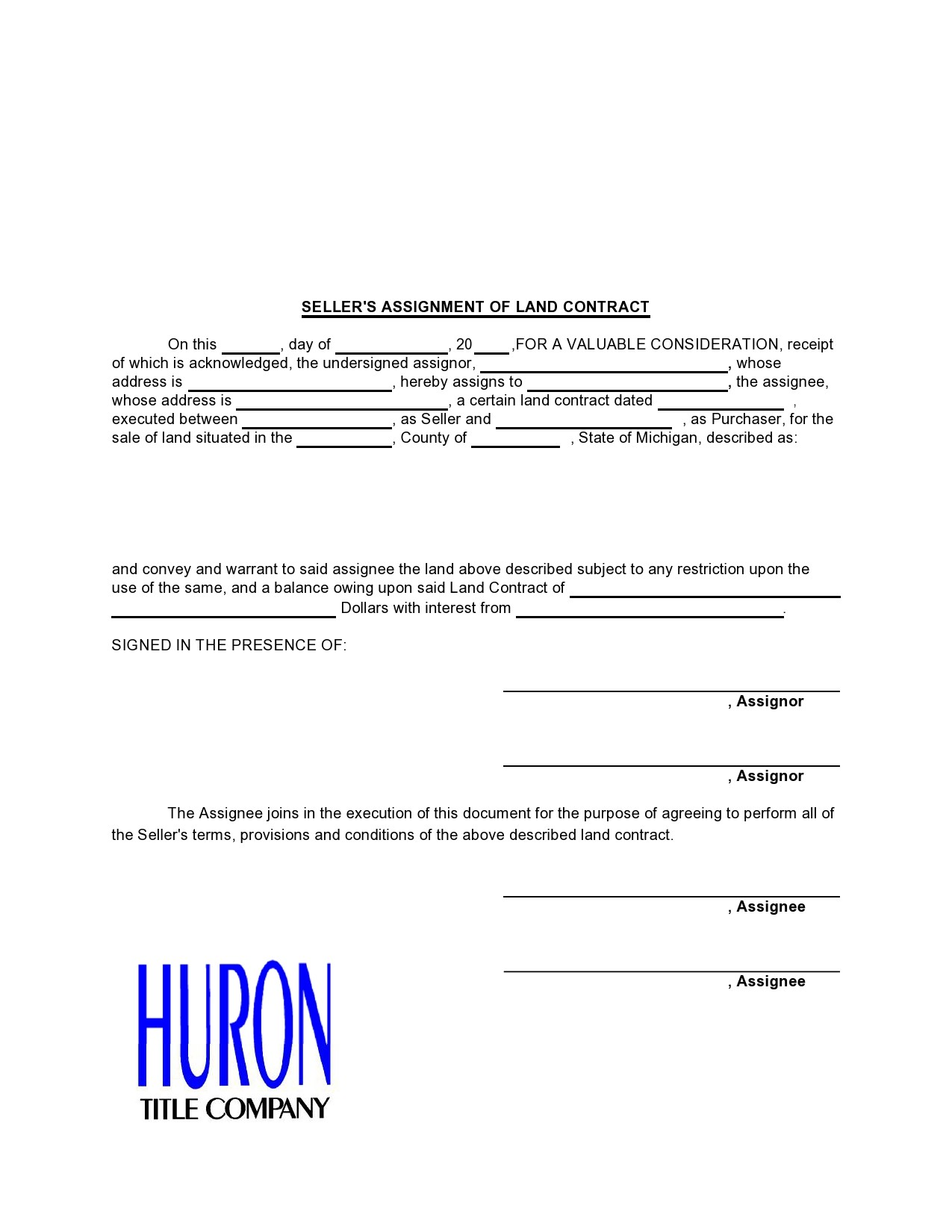 Free land contract form 16