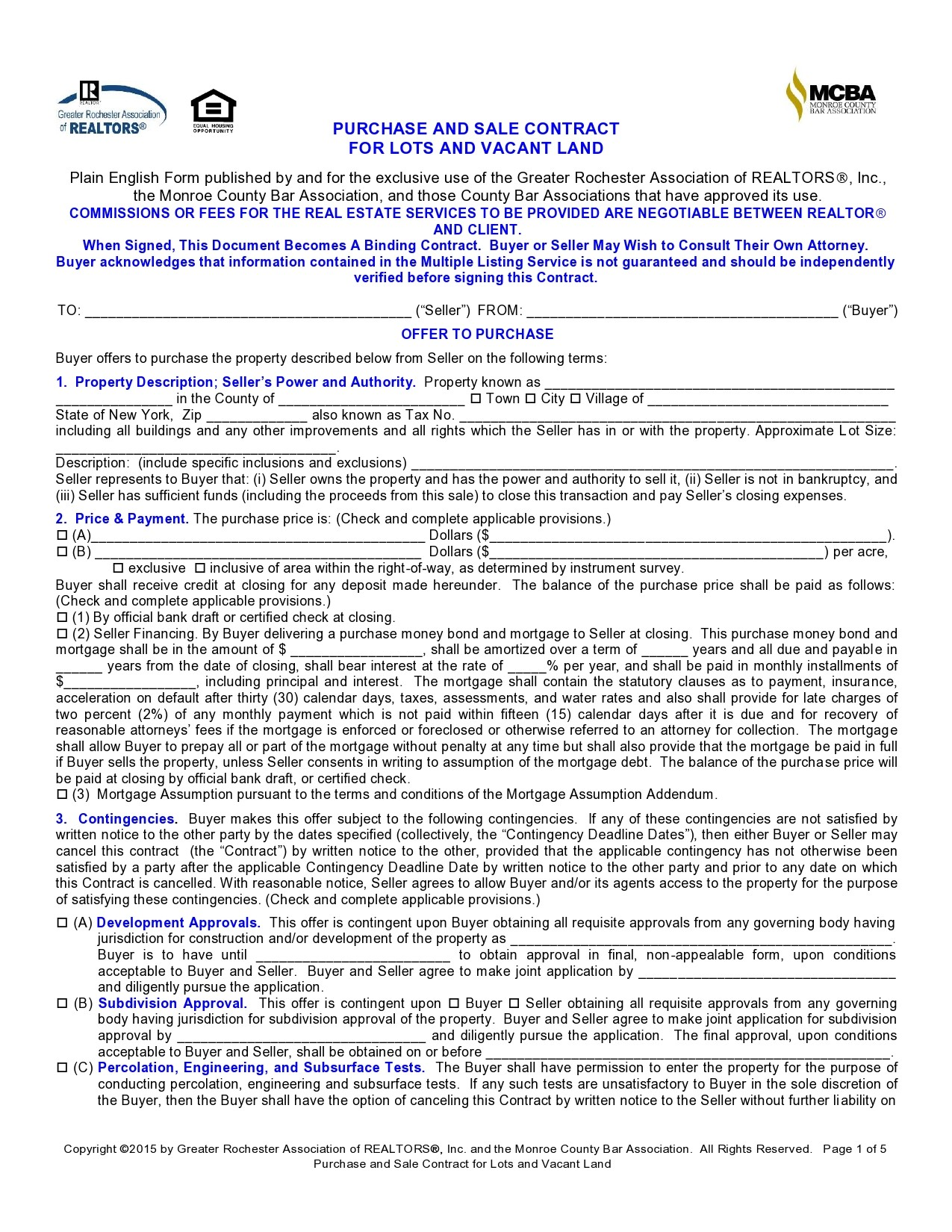 Free land contract form 19