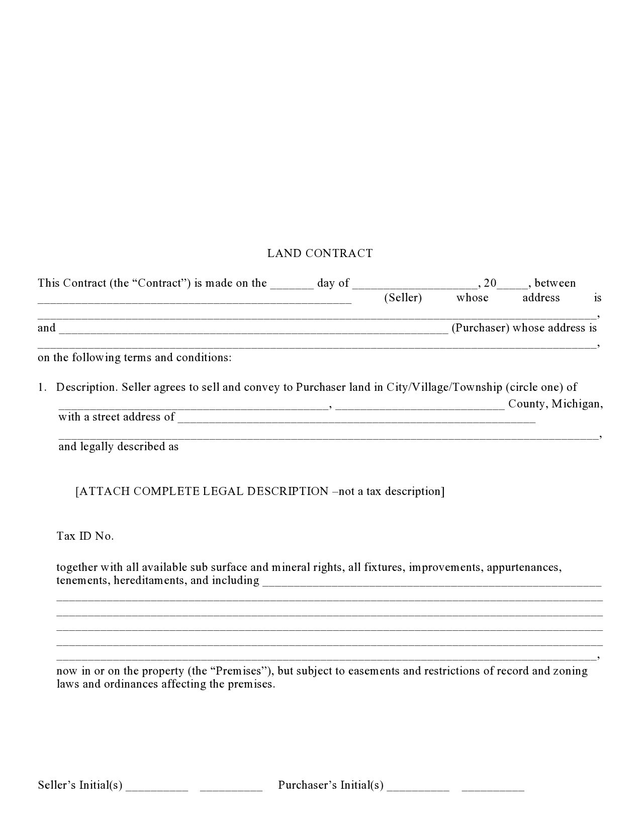 Free land contract form 23