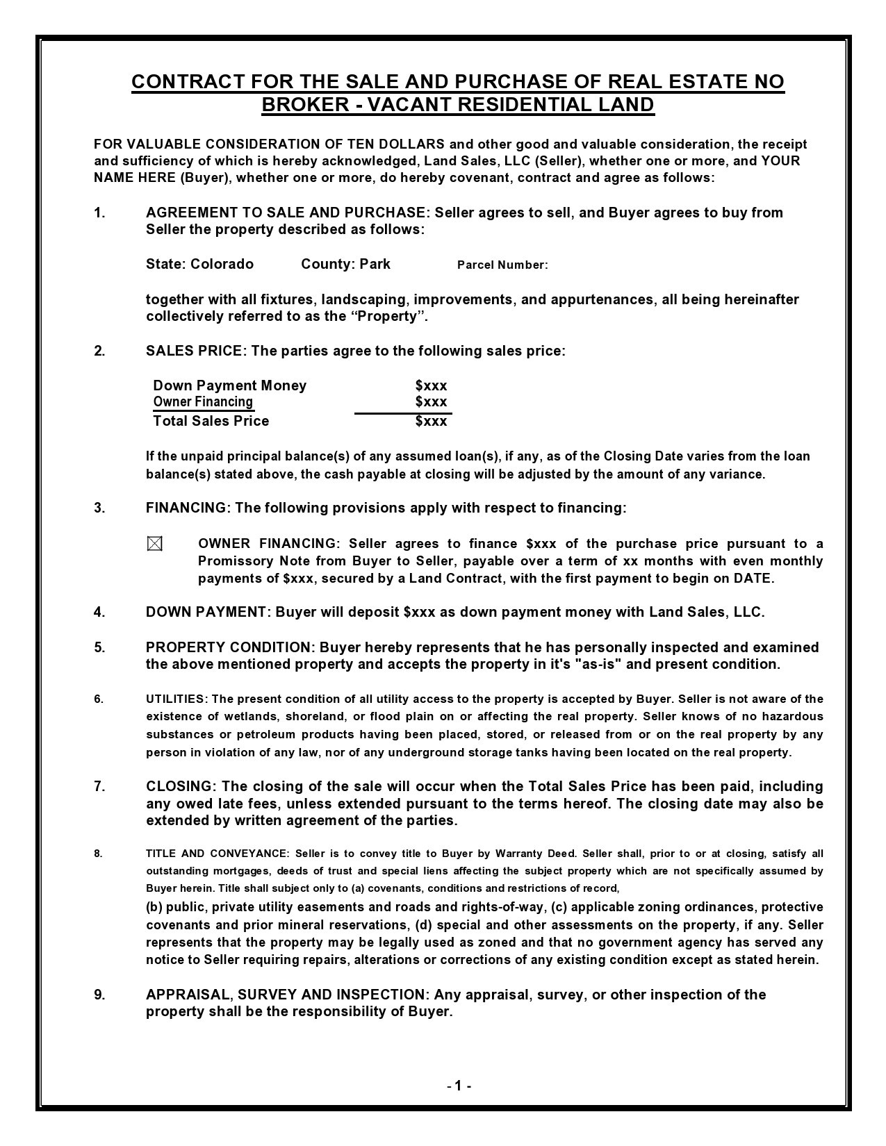 Free land contract form 26