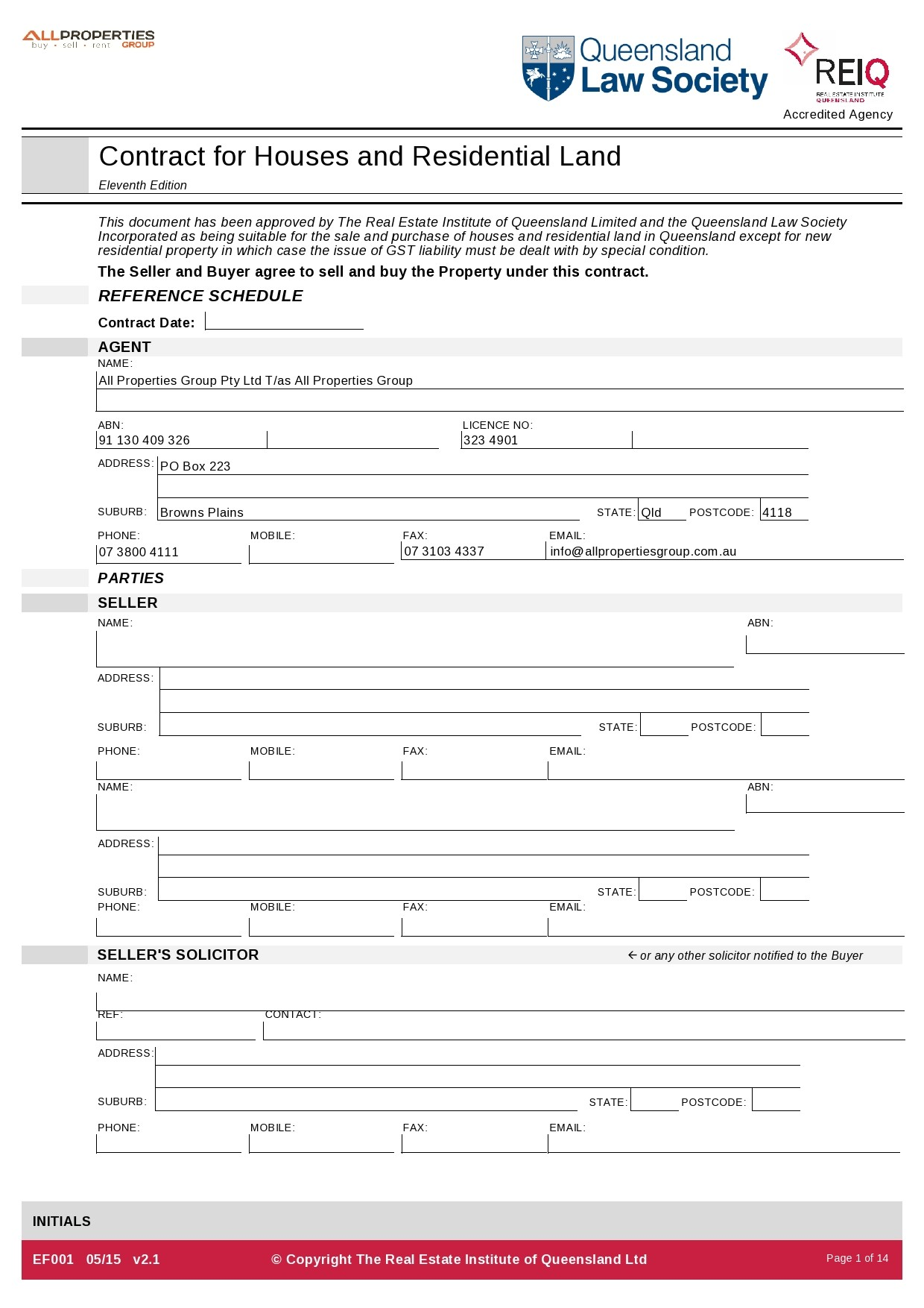 Free land contract form 29
