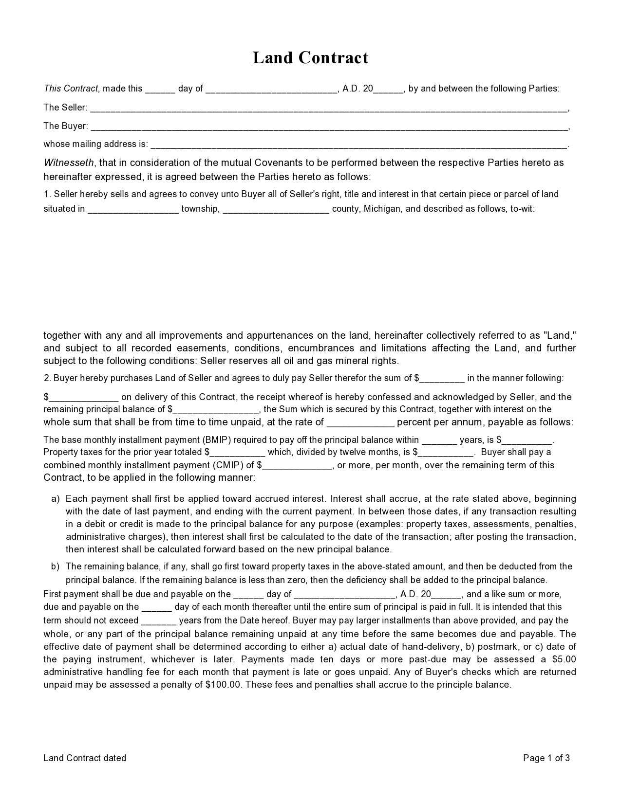 Free land contract form 32