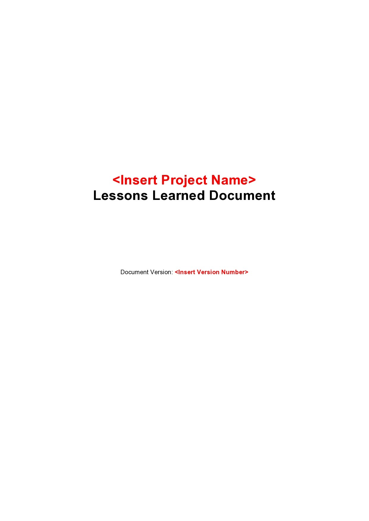 Free lessons learned template 03