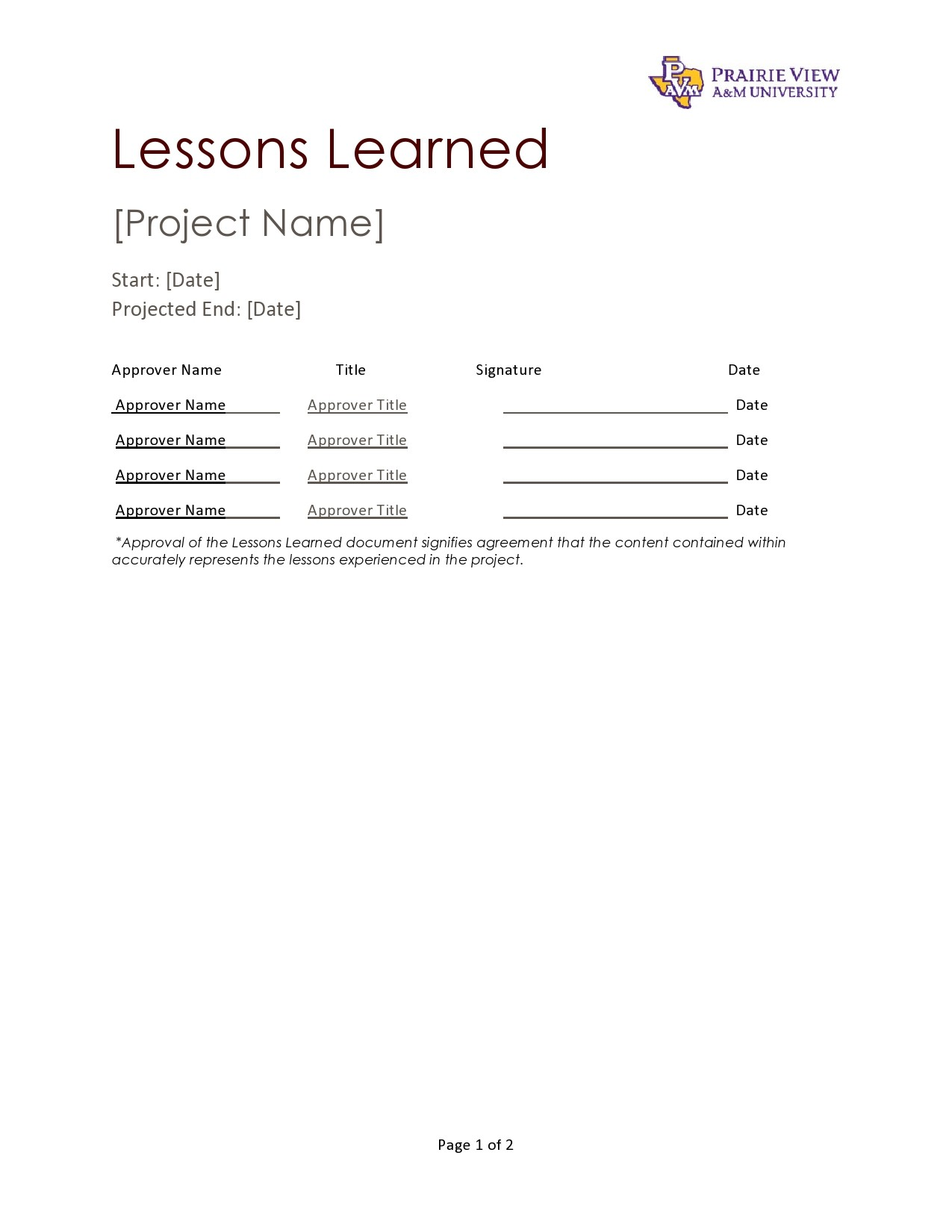 Free lessons learned template 06