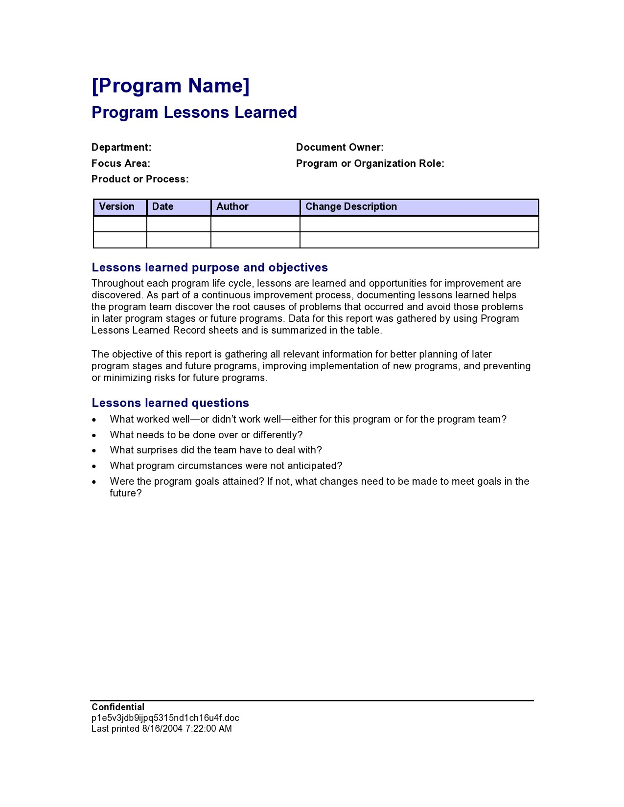 Free lessons learned template 10