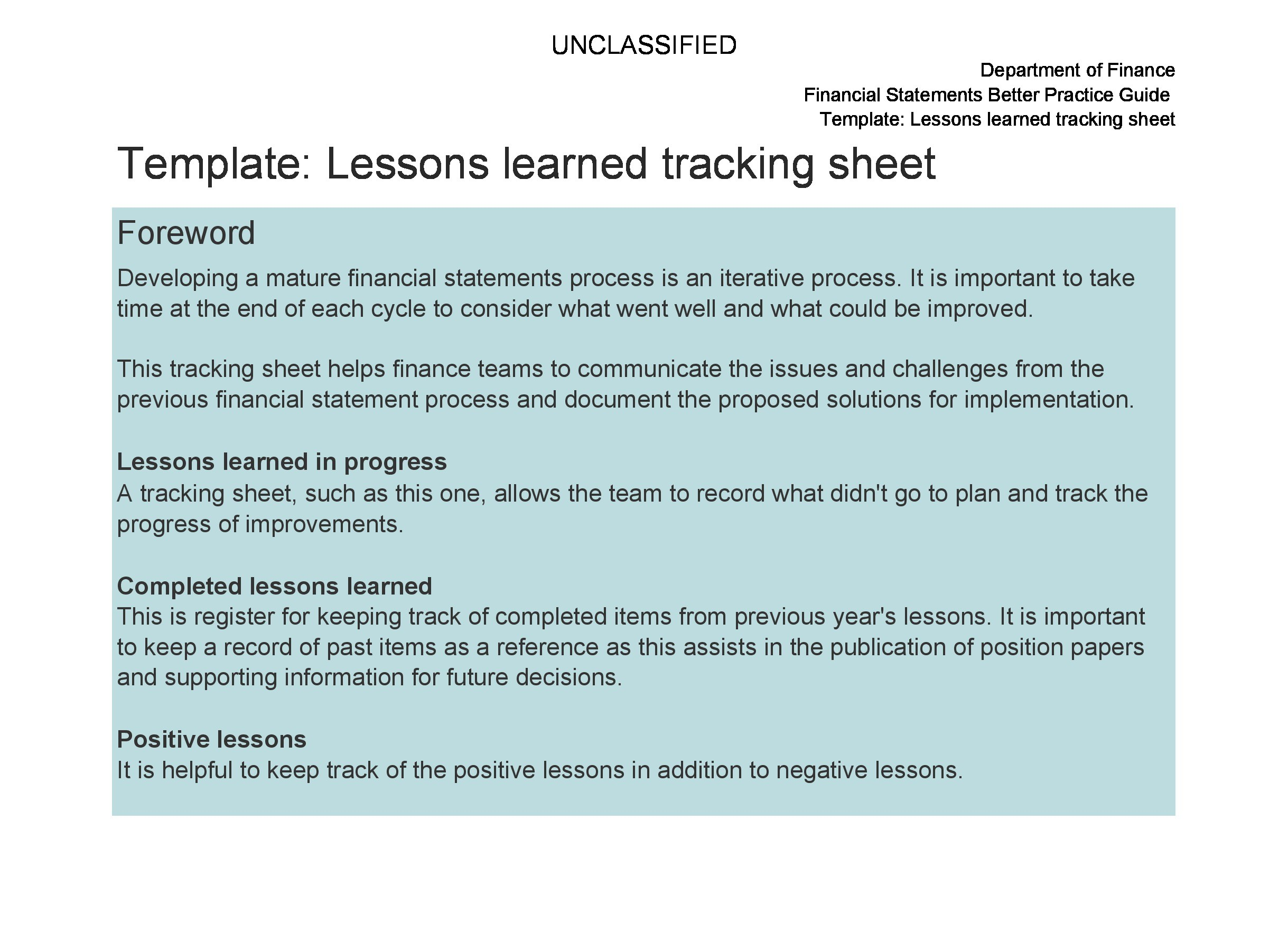 Free lessons learned template 14
