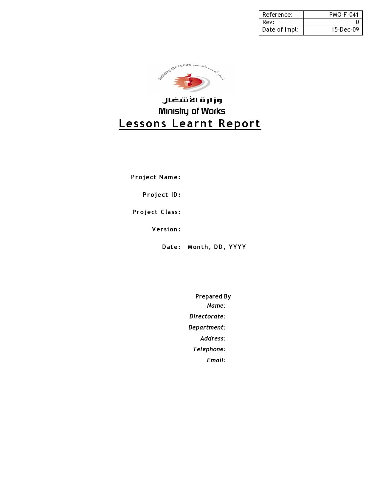 Free lessons learned template 15