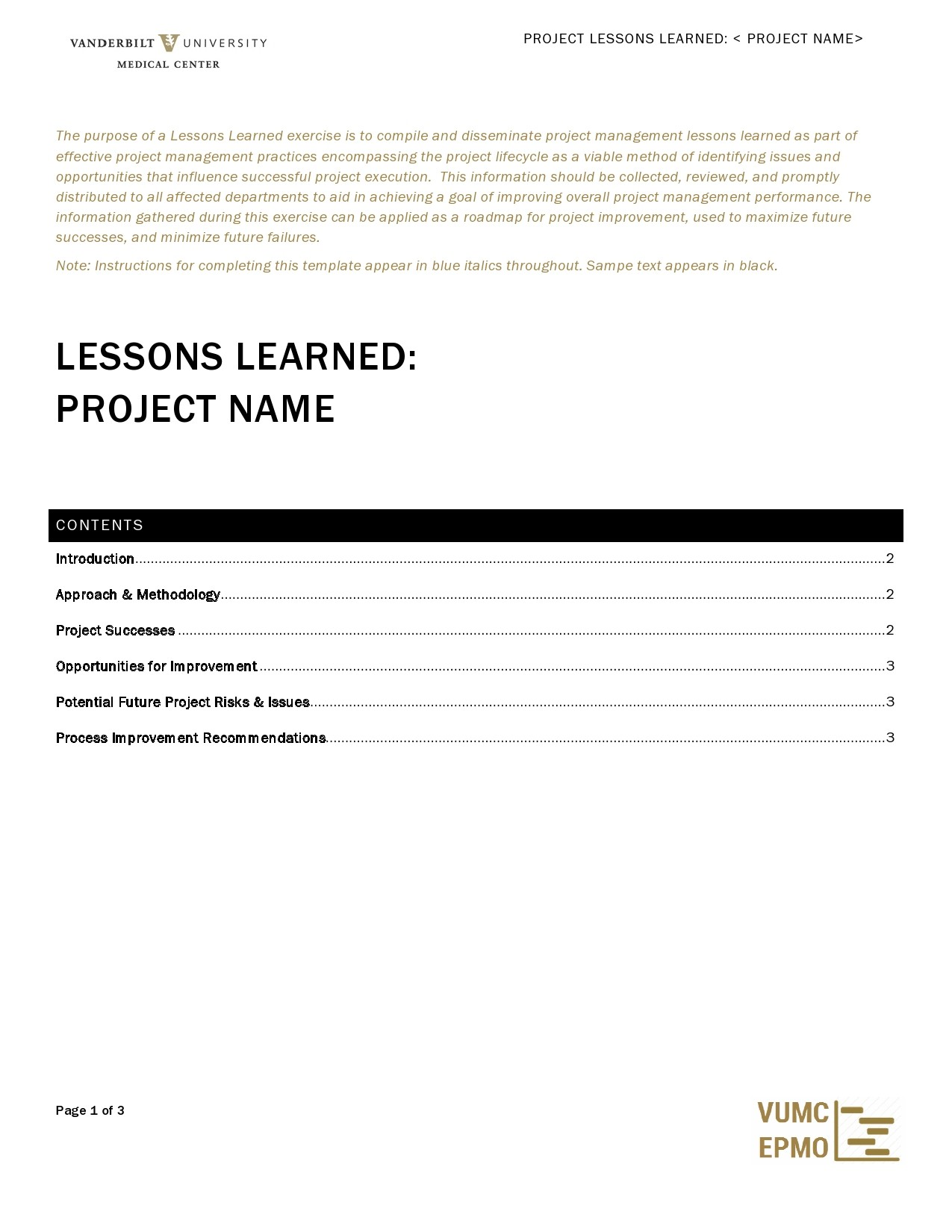 Free lessons learned template 29
