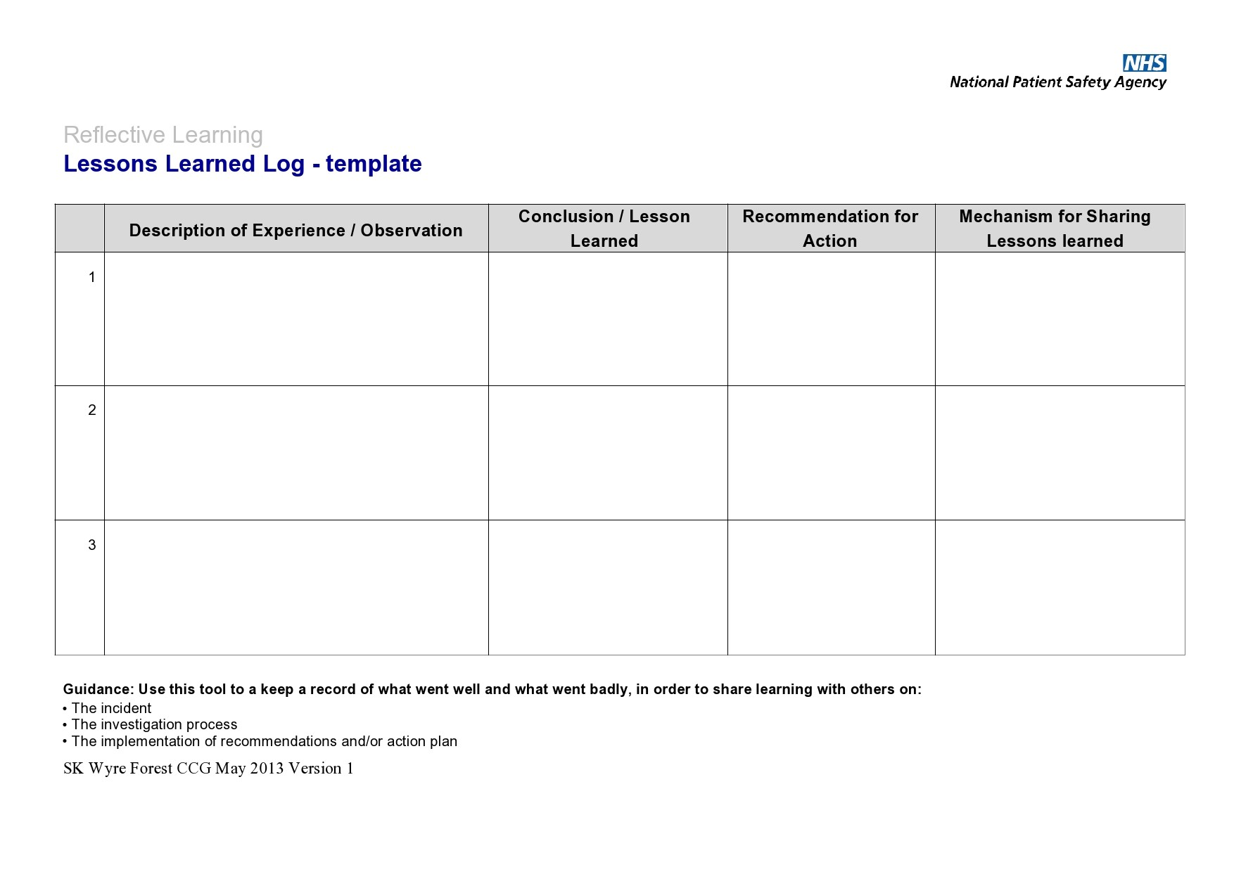Free lessons learned template 39