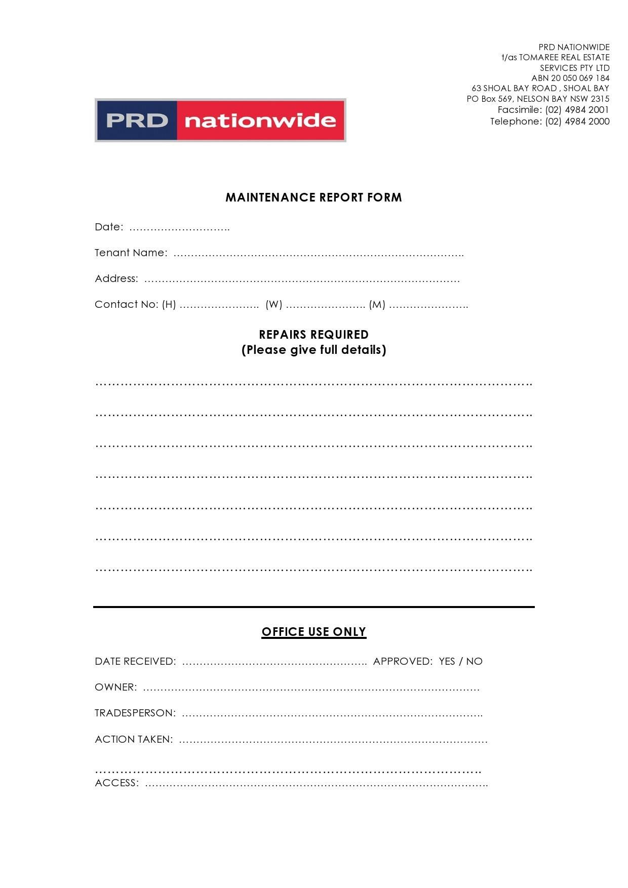 Free maintenance report form 04