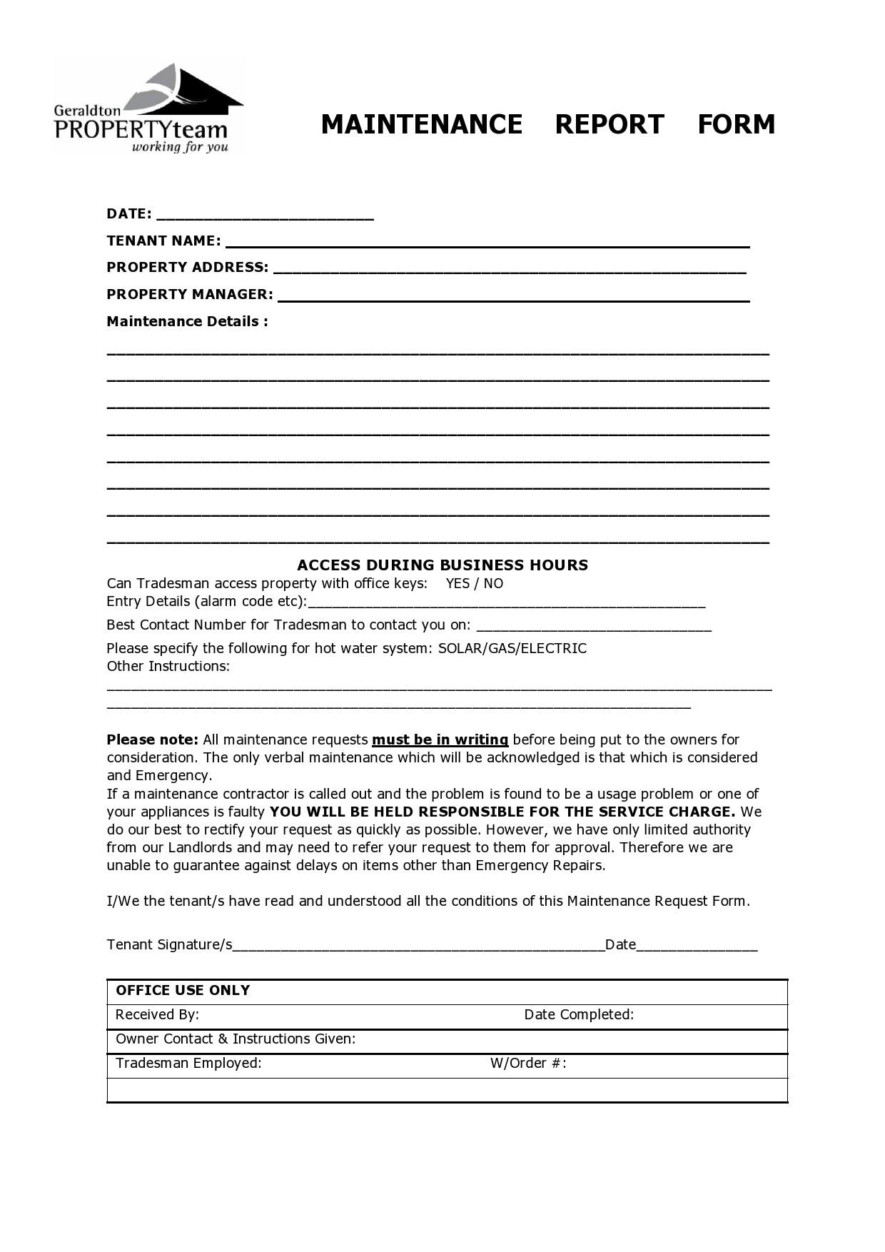 Free maintenance report form 06