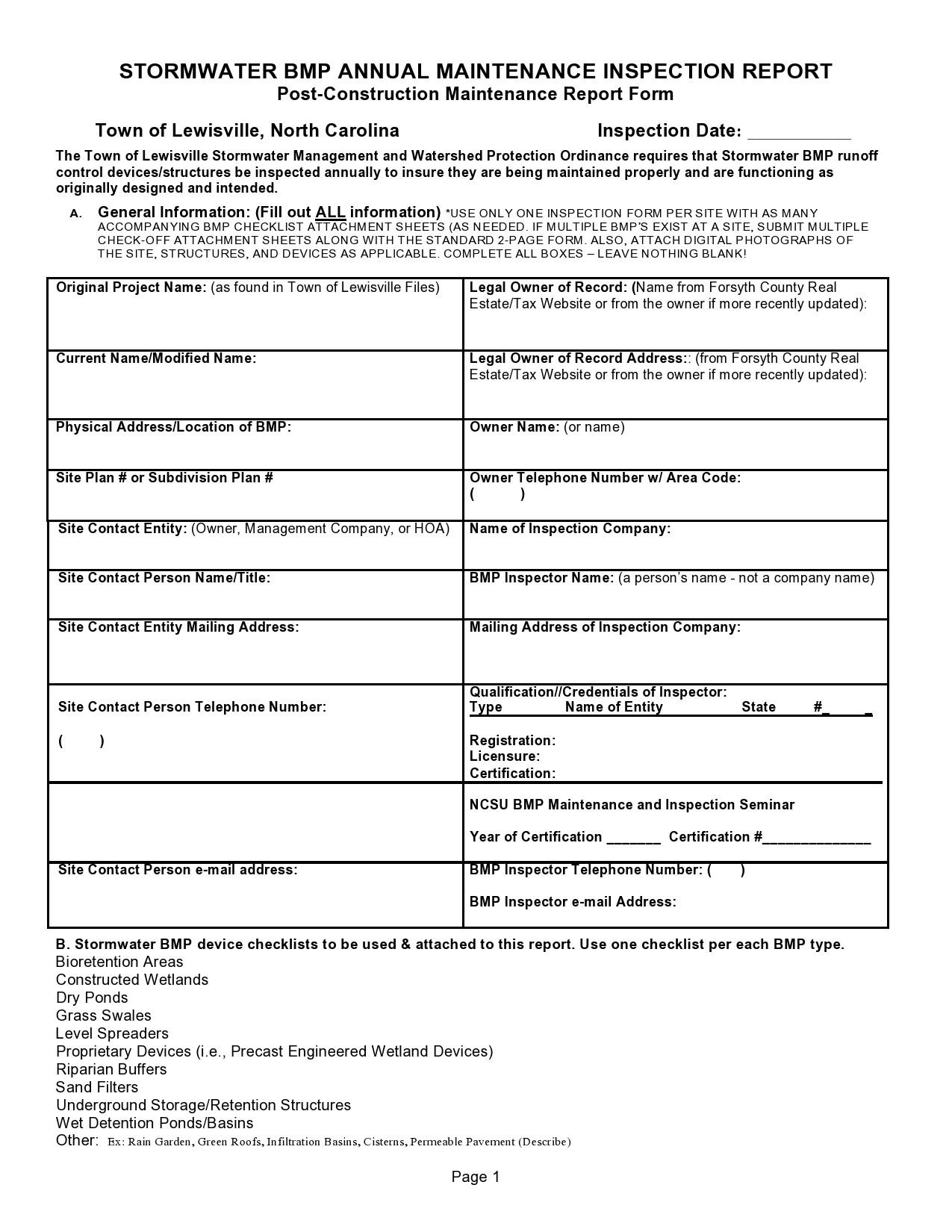 Free maintenance report form 09