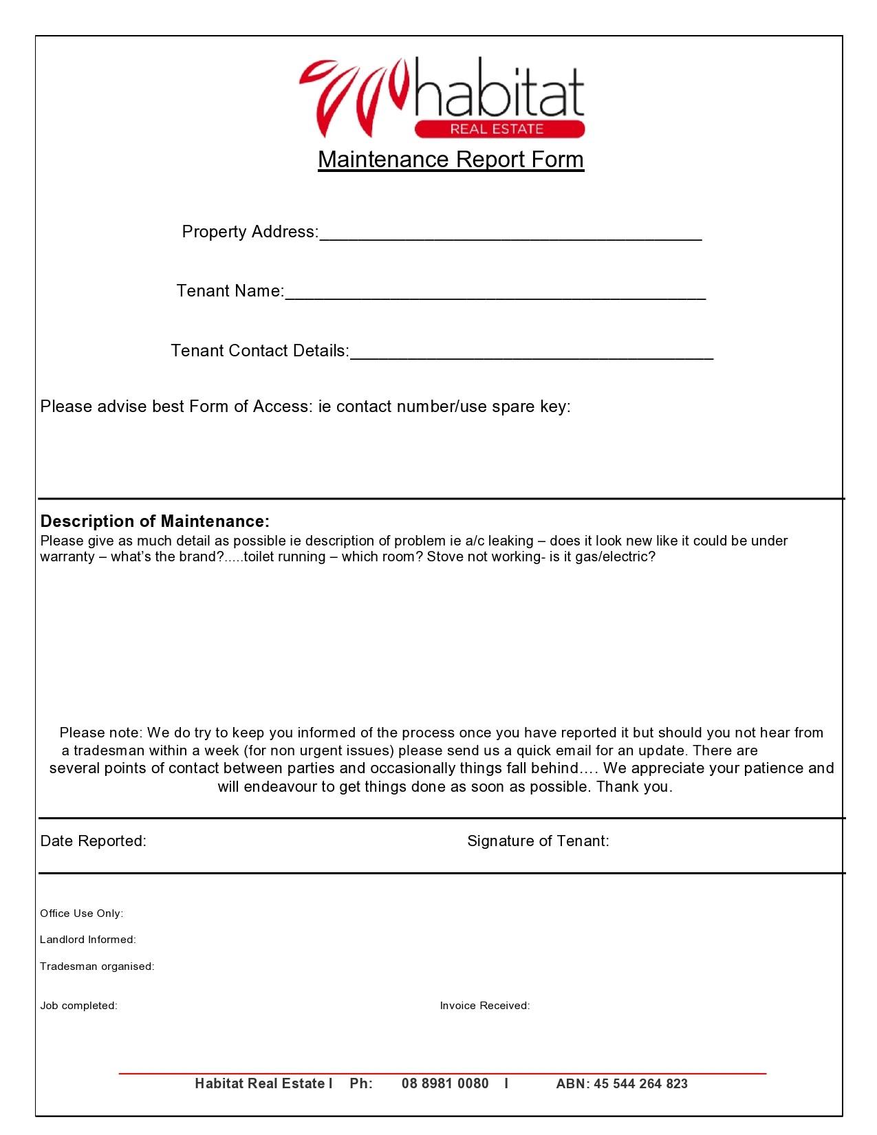 Free maintenance report form 16