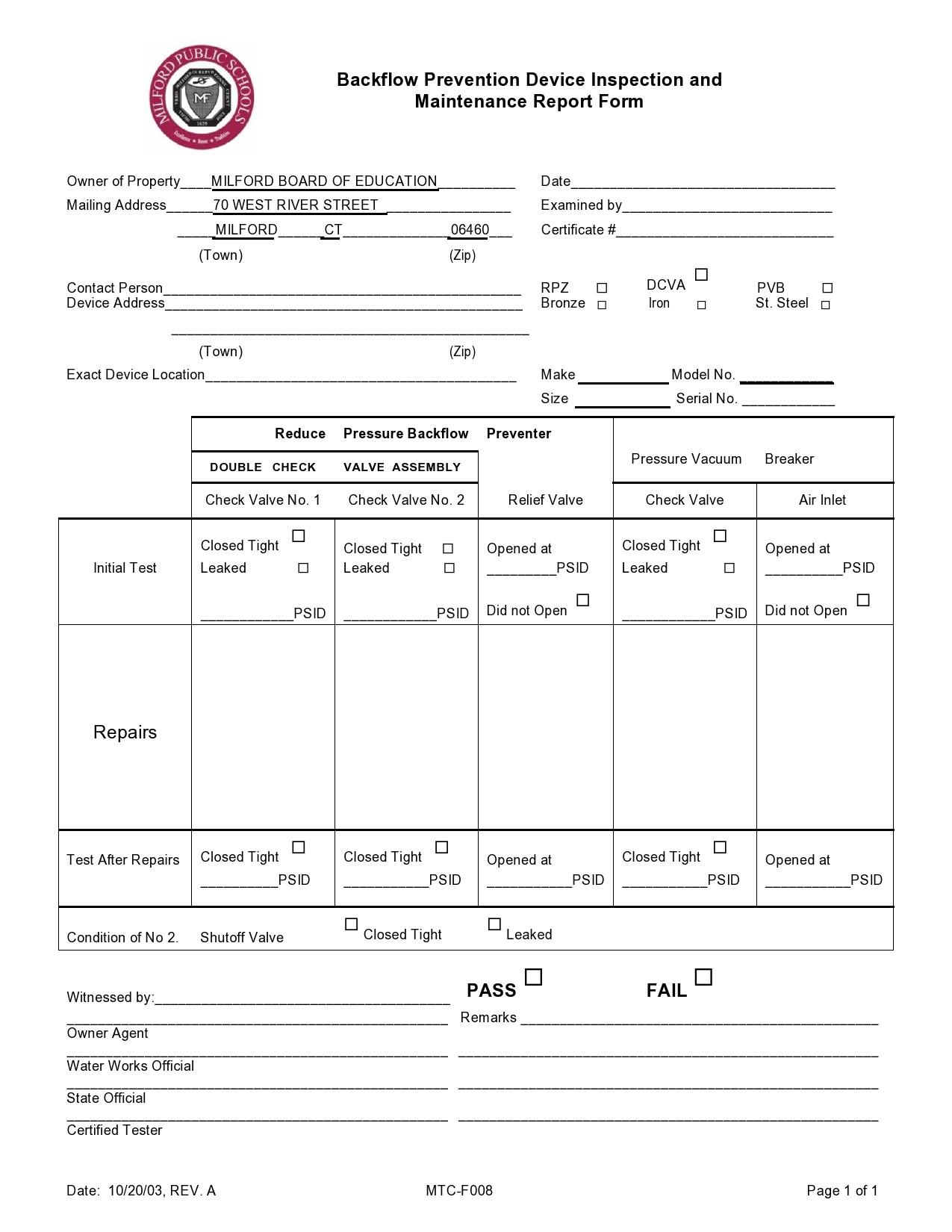 Free maintenance report form 17
