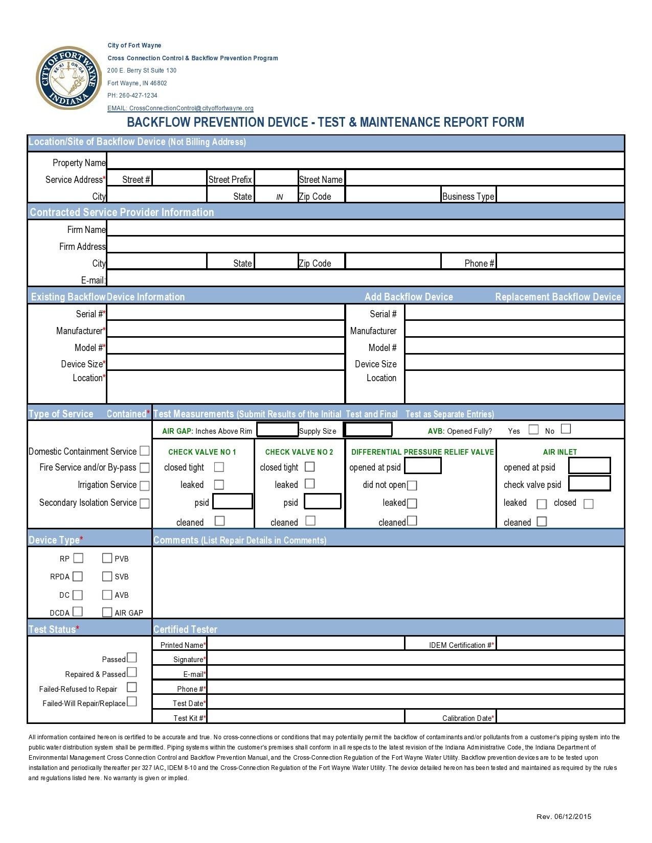 Free maintenance report form 19