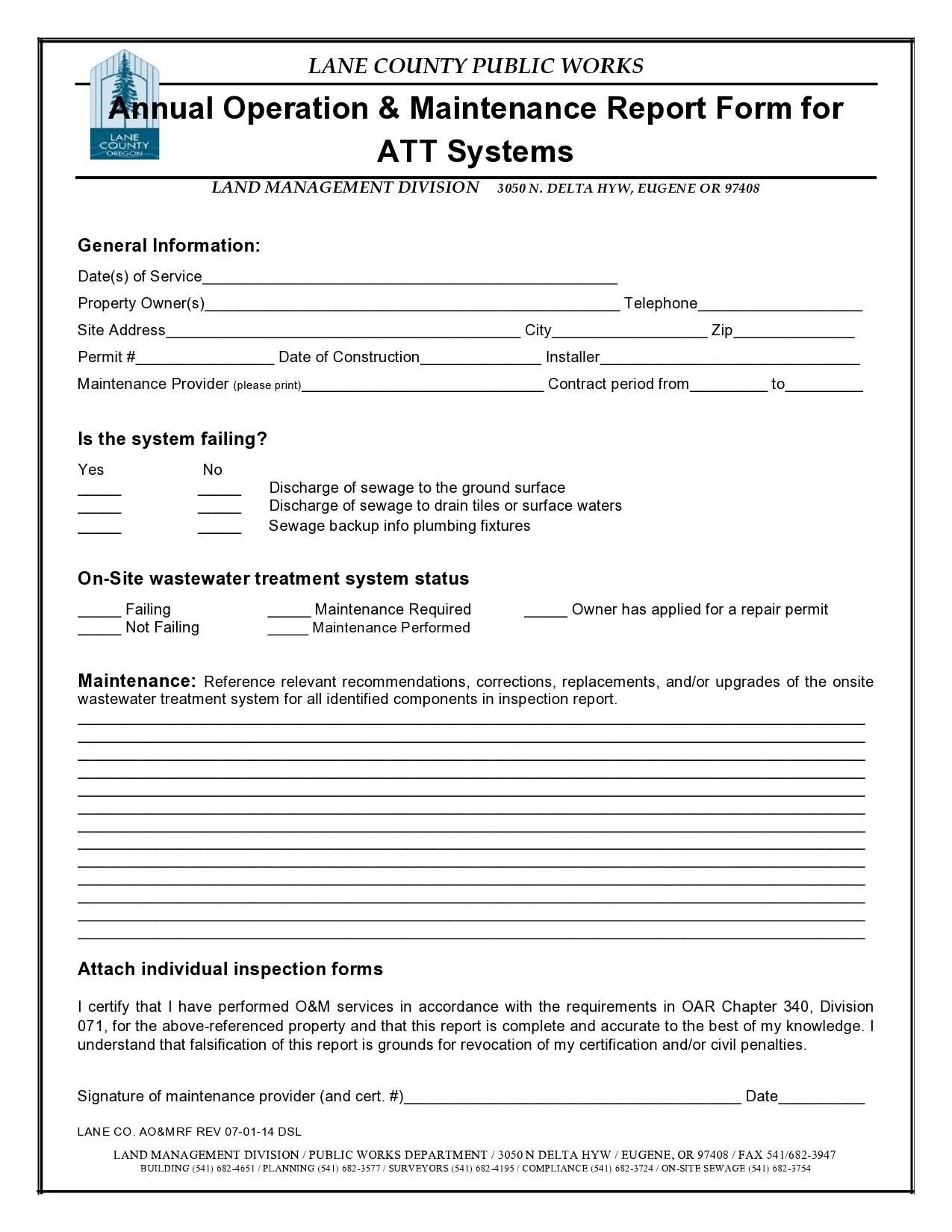 Free maintenance report form 21