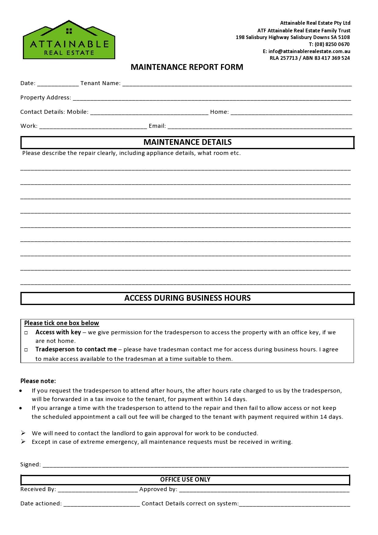 Free maintenance report form 23