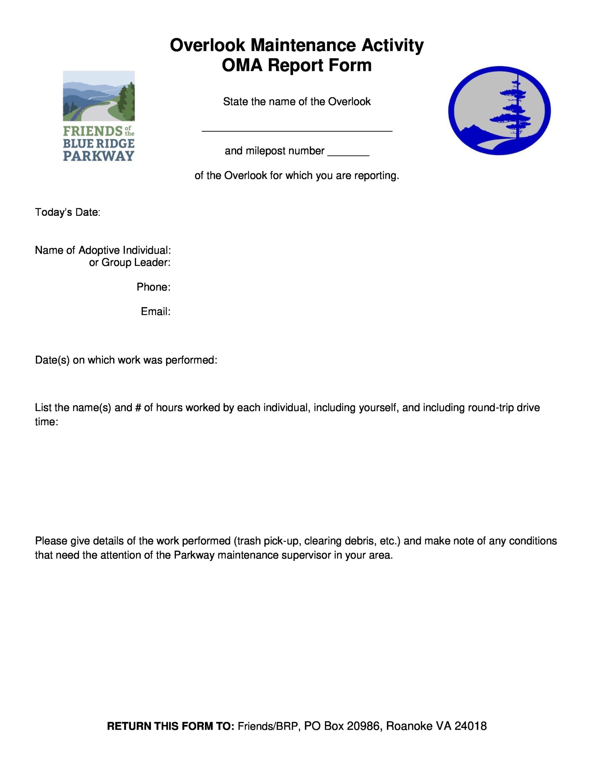 Free maintenance report form 30