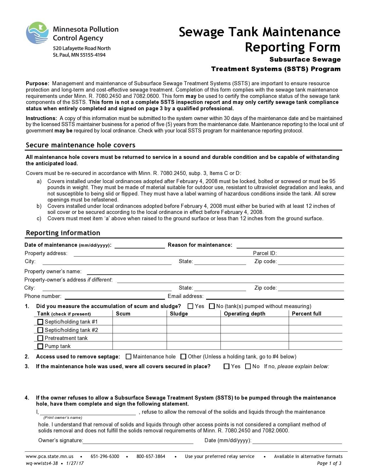 Free maintenance report form 32