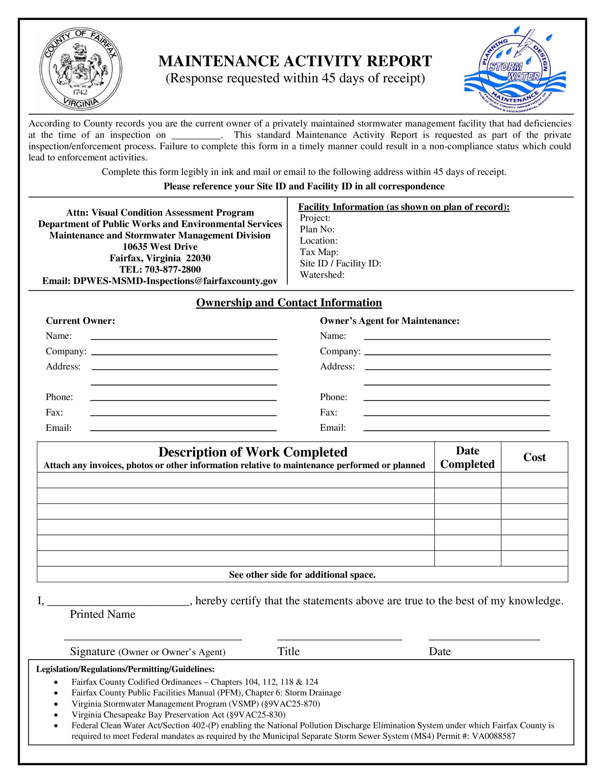 Free maintenance report form 33