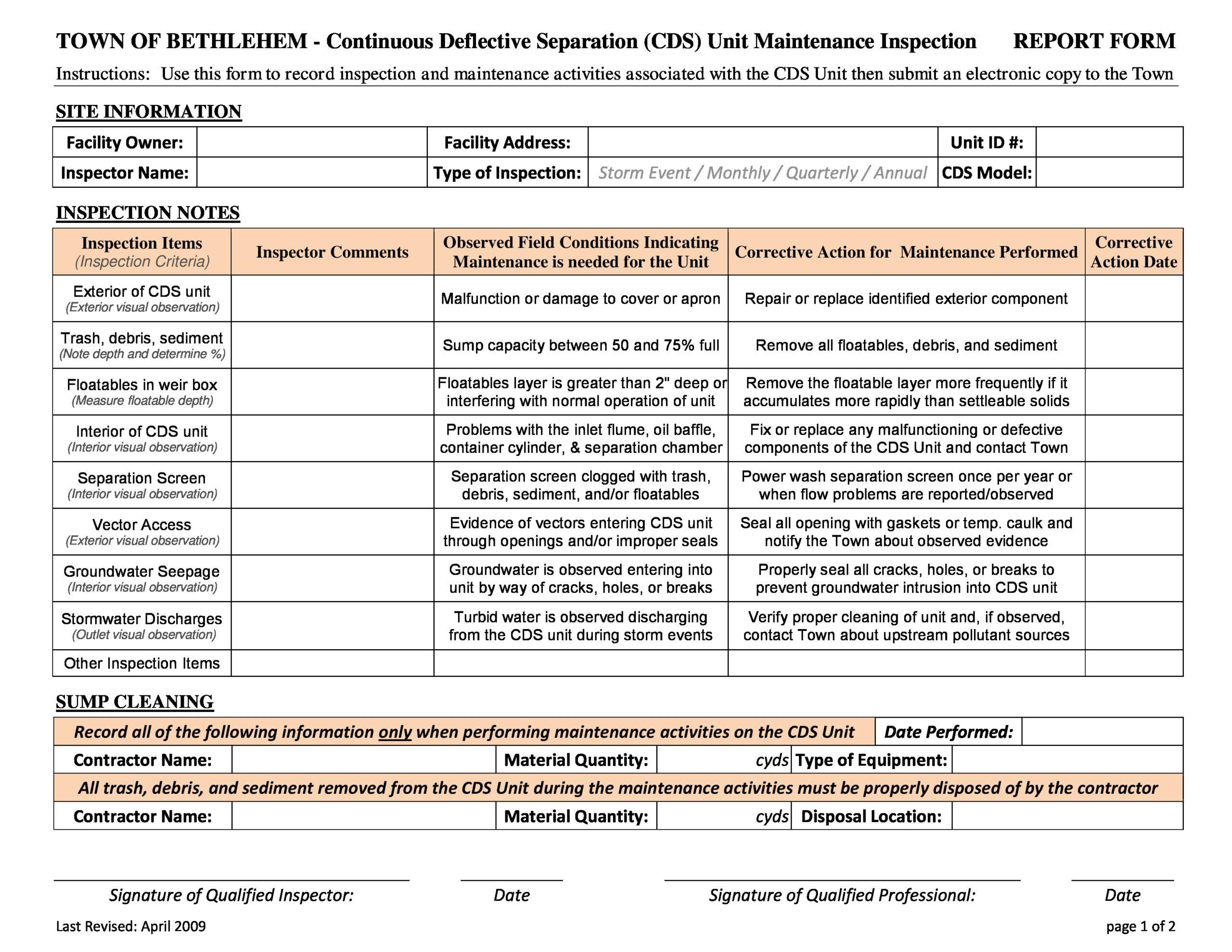 Free maintenance report form 34
