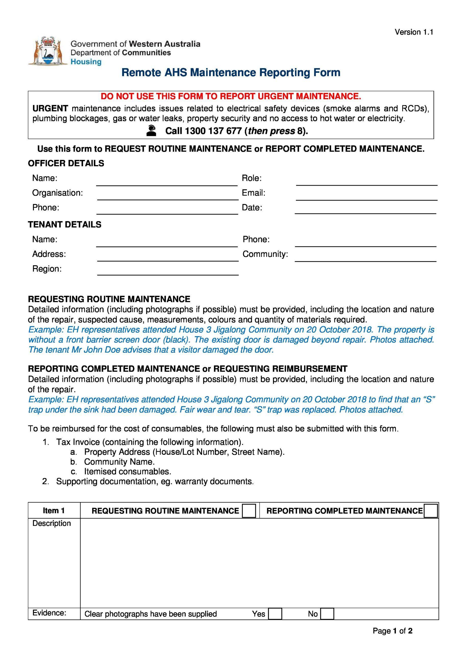 Free maintenance report form 38
