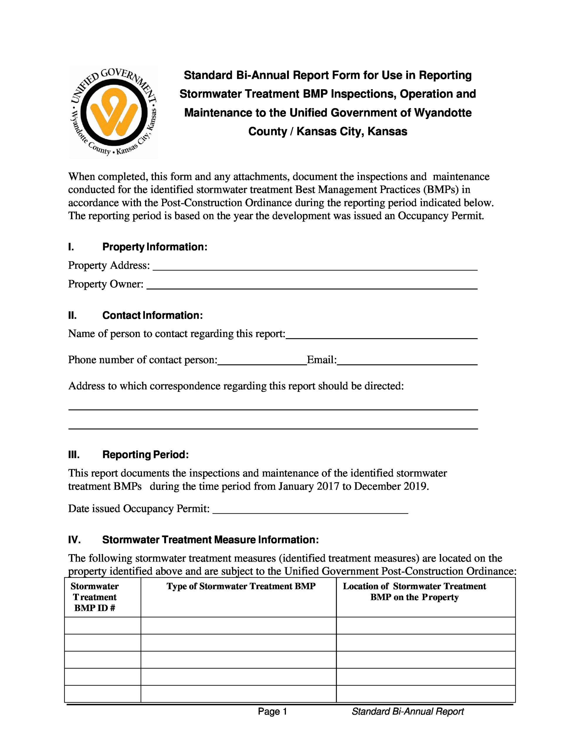 Free maintenance report form 40