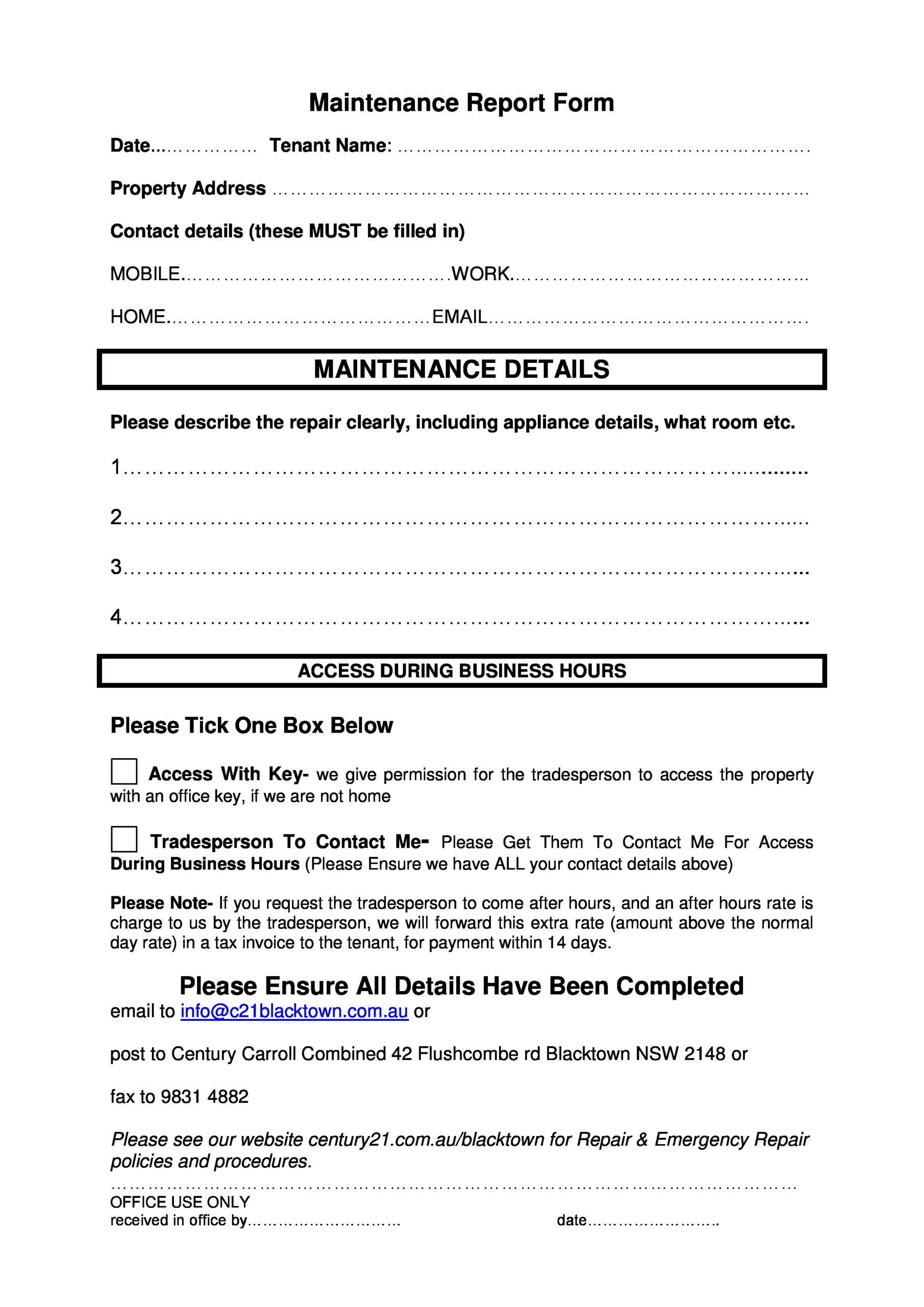 Free maintenance report form 41