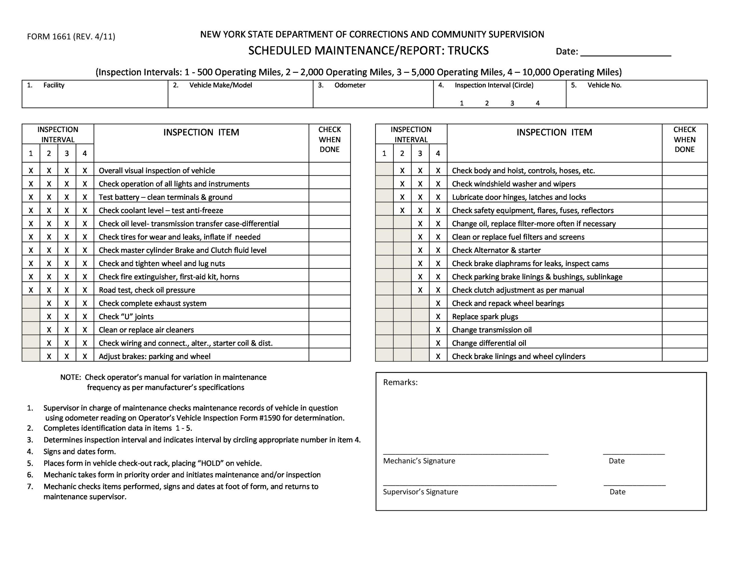 Free maintenance report form 47